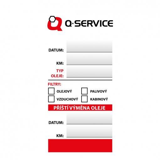 Štítok výmena oleja - servisná kontrola Q-service